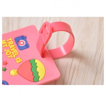 Assorted designs Soft PVC Luggage Tag (Pink Travel)