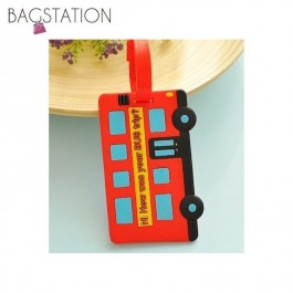 Assorted designs Soft PVC Luggage Tag (Red Bus)