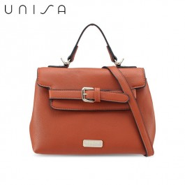 UNISA Pebbled Texture Convertible Satchel Bag-Brown