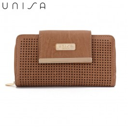 UNISA Perforated Facile Ladies Zip-Up Clutch Wallet-Khaki