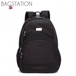 BAGSTATIONZ Crinkled Nylon Backpack-Black