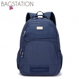BAGSTATIONZ Crinkled Nylon Backpack-Navy Blue