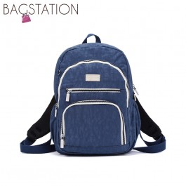 BAGSTATIONZ Crinkled Nylon Backpack With Zebra Strap-Navy Blue