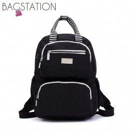 BAGSTATIONZ Crinkled Nylon Backpack With Zebra Strap-Black