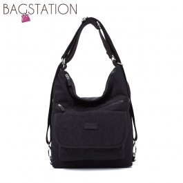 BAGSTATIONZ Crinkled Nylon 2 Way-Usage Shoulder Bag-Black