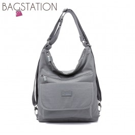 BAGSTATIONZ Crinkled Nylon 2 Way-Usage Shoulder Bag-Grey