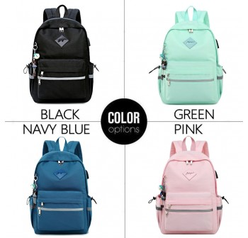 BAGSTATIONZ Fashion Laptop Backpack-Navy Blue