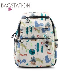 BAGSTATIONZ Printed Nylon Backpack-Beige