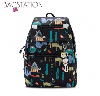 BAGSTATIONZ Printed Nylon Backpack-Black