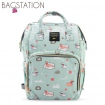 BAGSTATIONZ Printed Travel Diaper Backpack-Green