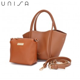 UNISA Faux Leather Top Handle Bag-Brown