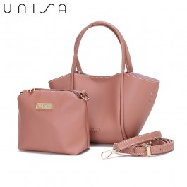 UNISA Faux Leather Top Handle Bag-Pink
