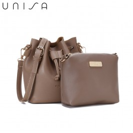 UNISA Faux Leather Bucket Bag-Khaki