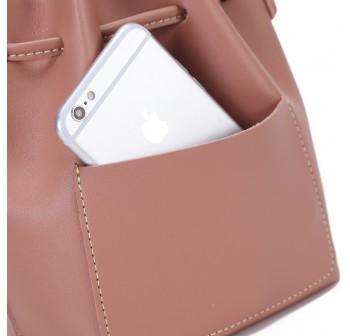 UNISA Faux Leather Bucket Bag-Pink