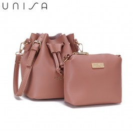 UNISA Faux Leather Bucket Bag-Pink