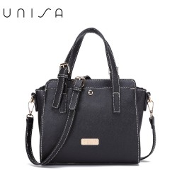 UNISA Saffiano Convertible Satchel-Black