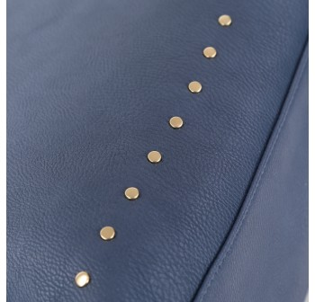 UNISA Pebbled Studded Fashion Convertible Tote Bag-Navy Blue