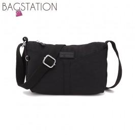 BAGSTATIONZ Crinkled Nylon Mini Sling Bag-Black