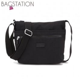 BAGSTATIONZ Crinkled Nylon Multi-Compartment Sling Bag-Black