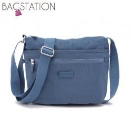 BAGSTATIONZ Crinkled Nylon Multi-Compartment Sling Bag-Blue