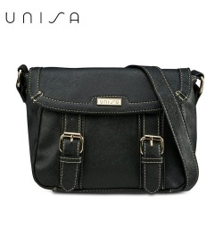 UNISA Saffiano Effect Sling Bag With Flap Over Closure (Black)