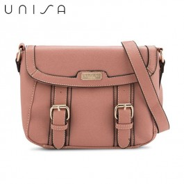 UNISA Saffiano Effect Sling Bag With Flap Over Closure (Pink)