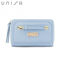UNISA Saffiano Medium Ladies Zip-Up Wallet (Blue)