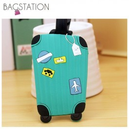 BAGSTATIONZ Assorted designs Soft PVC Luggage Tag (Green)