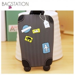 BAGSTATIONZ Assorted designs Soft PVC Luggage Tag (Grey)